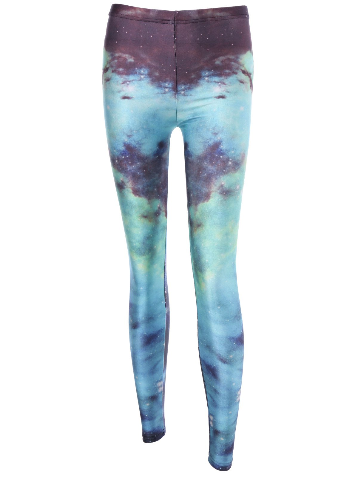 Ombre Color Galaxy Print High Waist Leggings - COLORMIX S