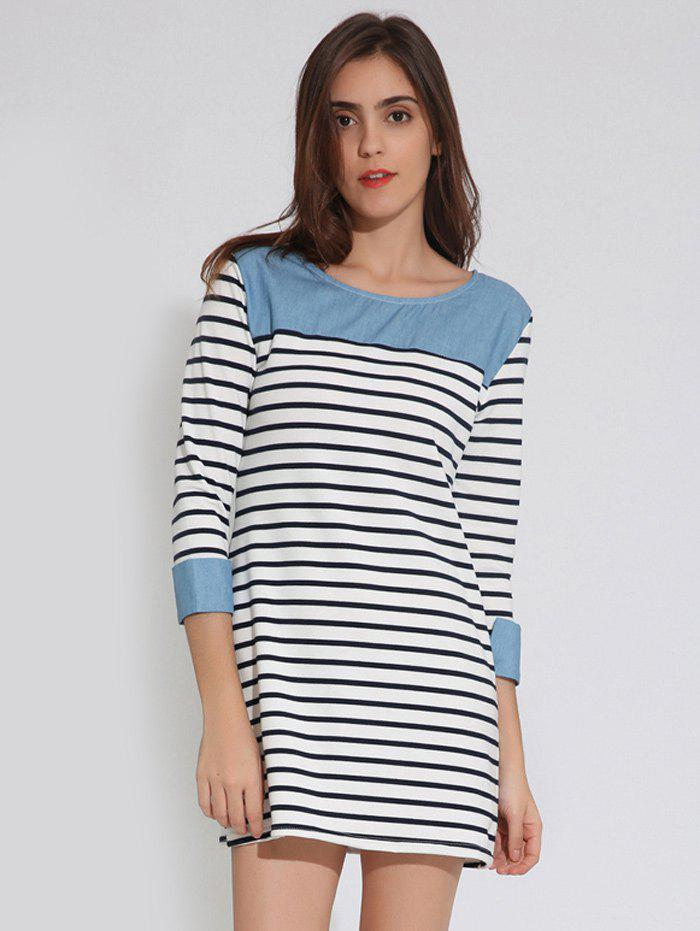 T-Shirt Tunic Striped DressWomen<br><br><br>Size: L<br>Color: PURPLISH BLUE