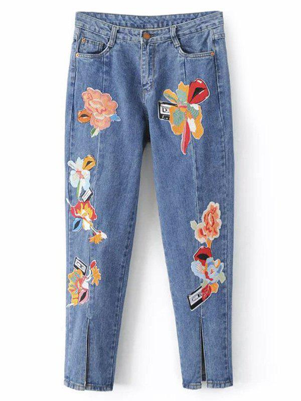 Slit Leg Low Rise Embroidery Jeans - LIGHT BLUE L