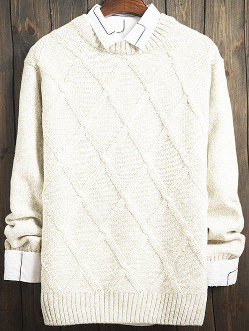 Argyle Kink Design Long Sleeve SweaterMen<br><br><br>Size: L<br>Color: WHITE