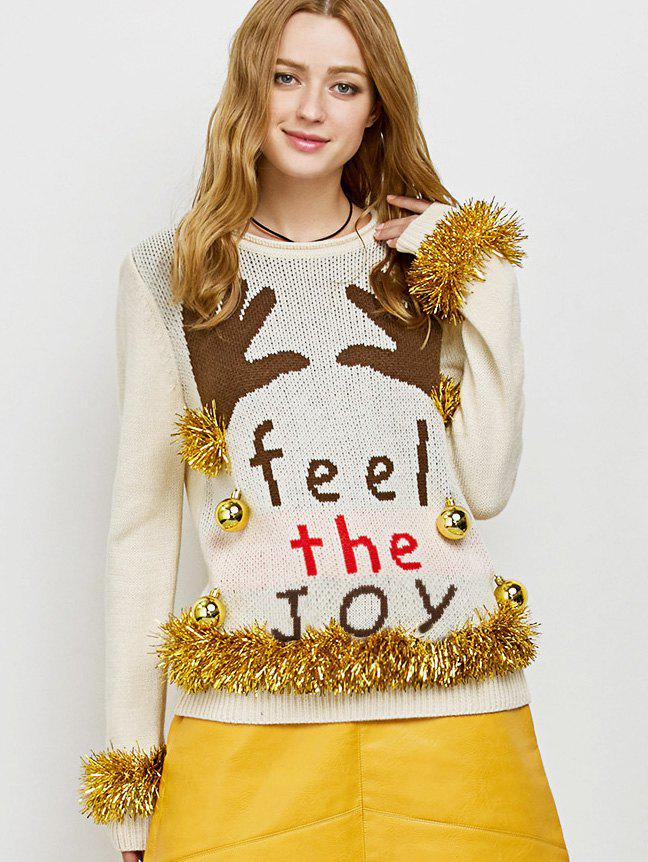 Embellished Christmas Knit Sweater with Bells - BEIGE M