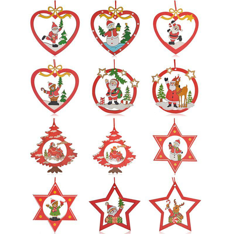 Santa Christmas Decoration 12PCS Hanging Pendants - RED