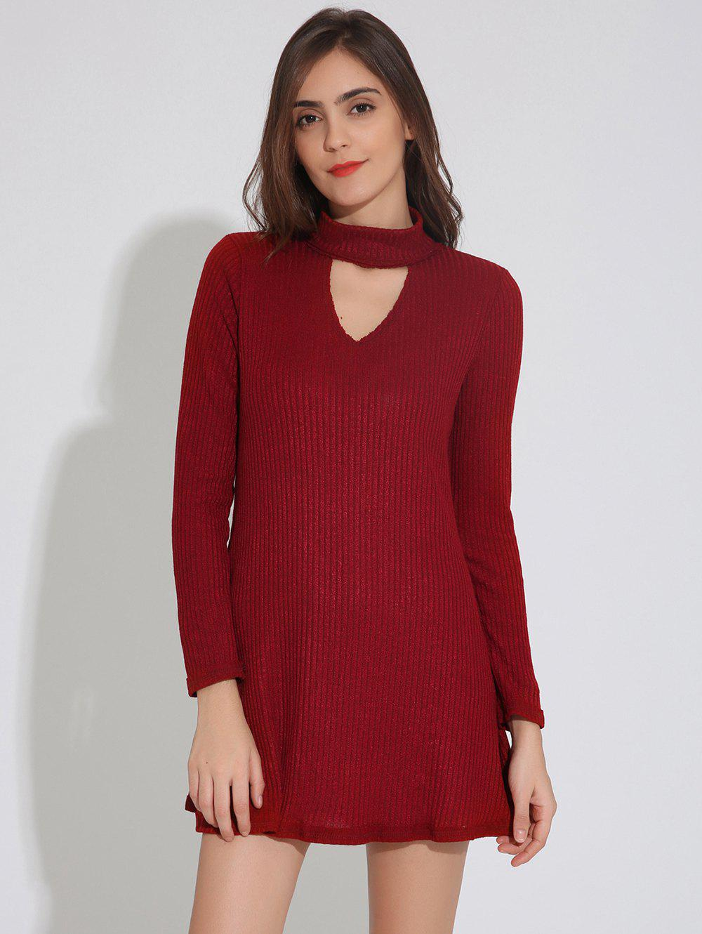 Keyhole Neck Long Sleeve Skater Sweater Dress - WINE RED L
