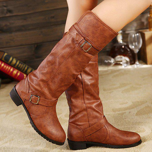 Flat Heel Double Buckle Mid Calf Boots - BROWN 37