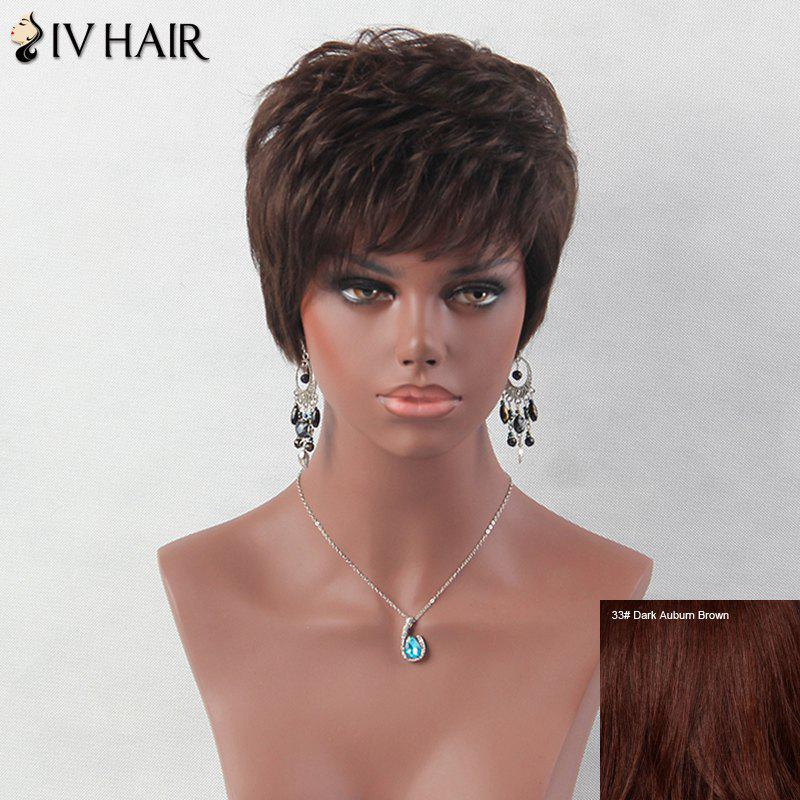Layered Short Fluffy Inclined Bang Straight Siv Human Hair Wig - DARK AUBURN BROWN