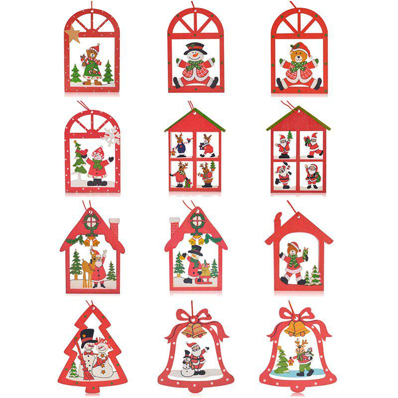 Christmas Elk Decoration 12PCS Hanging Pendants - RED