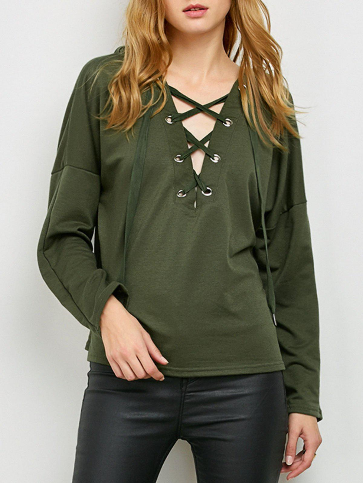 Buy Slouchy Lace Hoodie ARMY GREEN