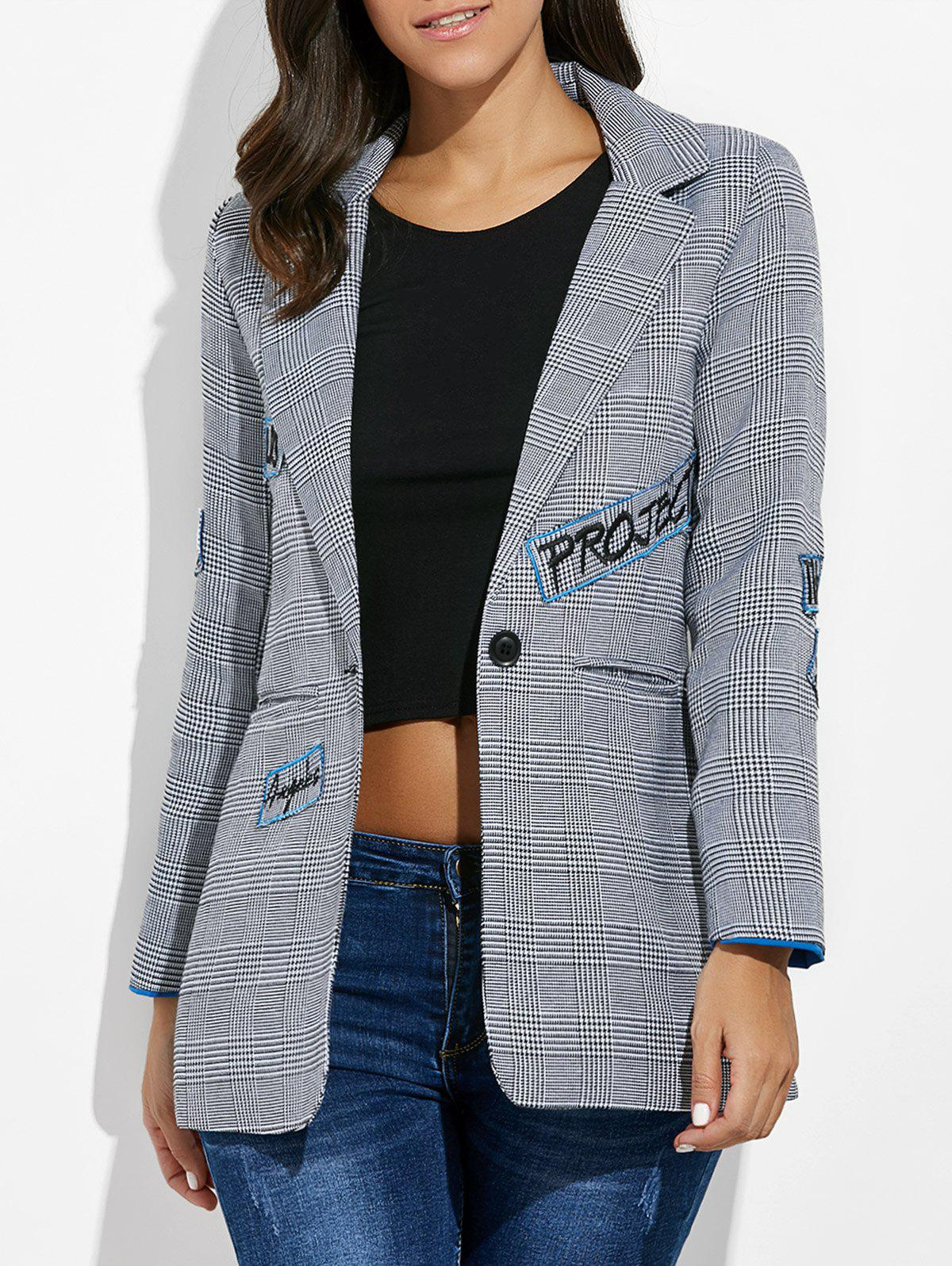 One Button Letter Embroidery Blazer - GRAY M