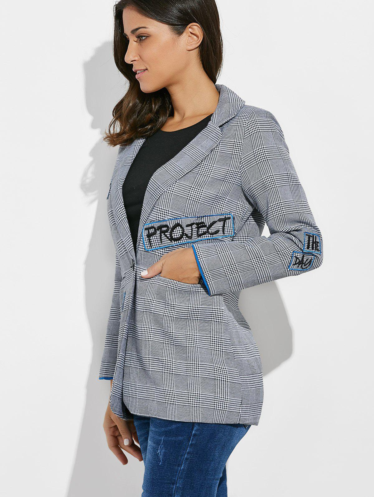 One Button Letter Embroidery Blazer - GRAY L