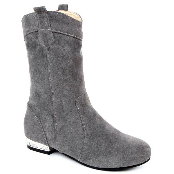 Round Toe Suede Mid-Calf Boots 2017 fashion style zipper decoration round toe shoes size 34 47 mid calf boots high quality low price super bargain women boots