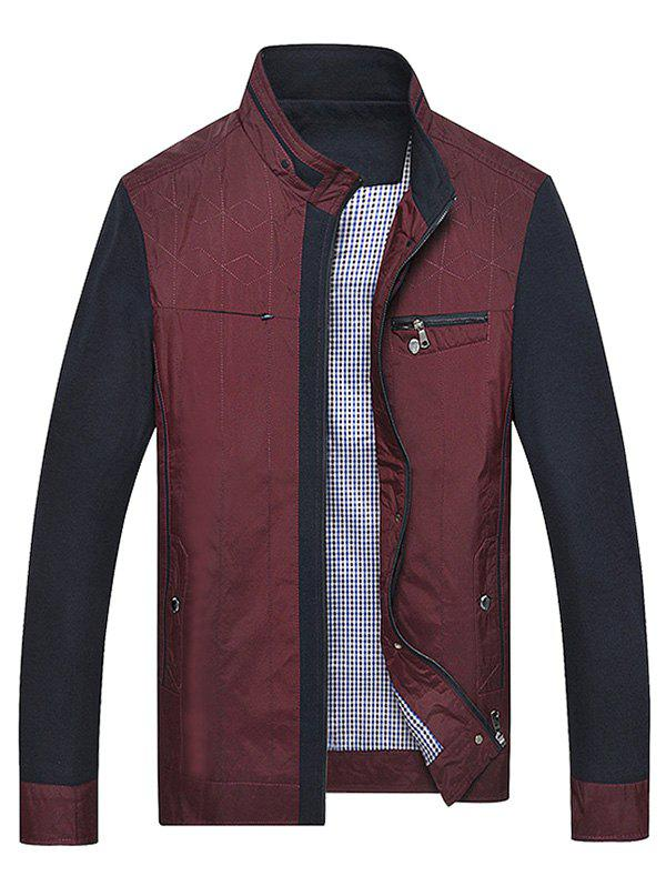 Plus Size Color Block Splicing Zip Up Jacket, WINE RED, XL ...