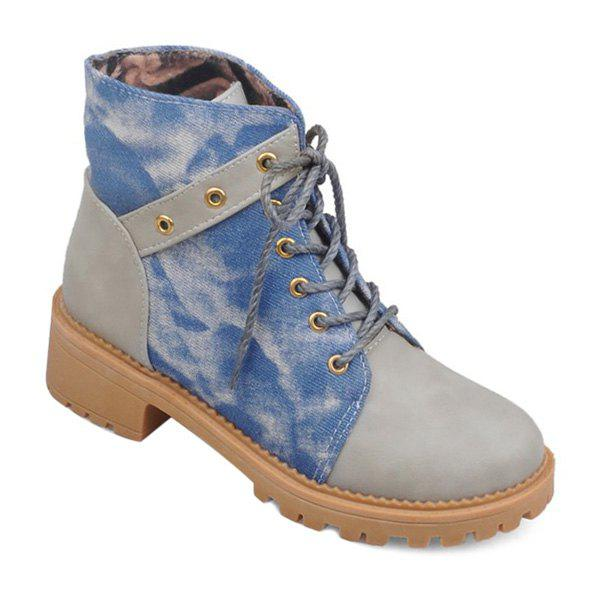 Lace Up Denim Panel Ankle Boots - GRAY 39
