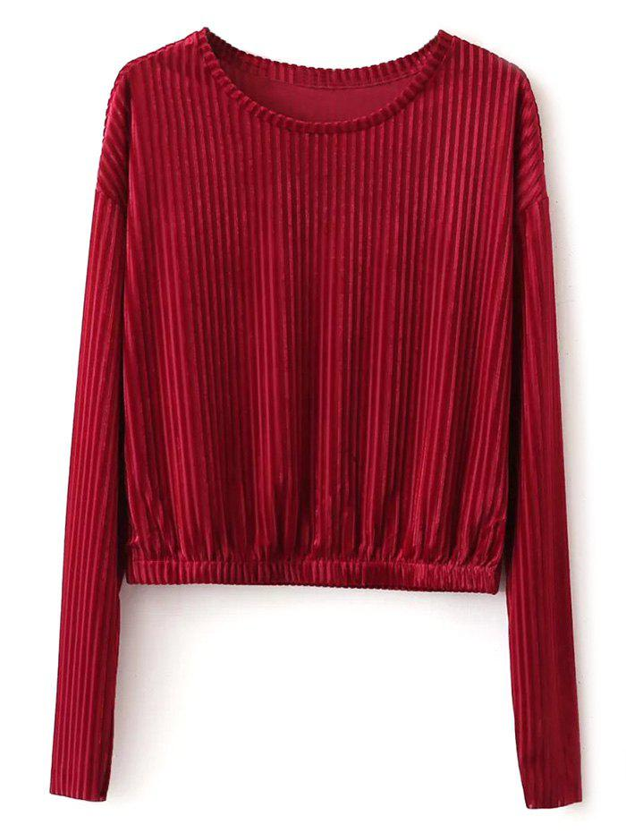 Long Sleeve Velvet Top - RED S