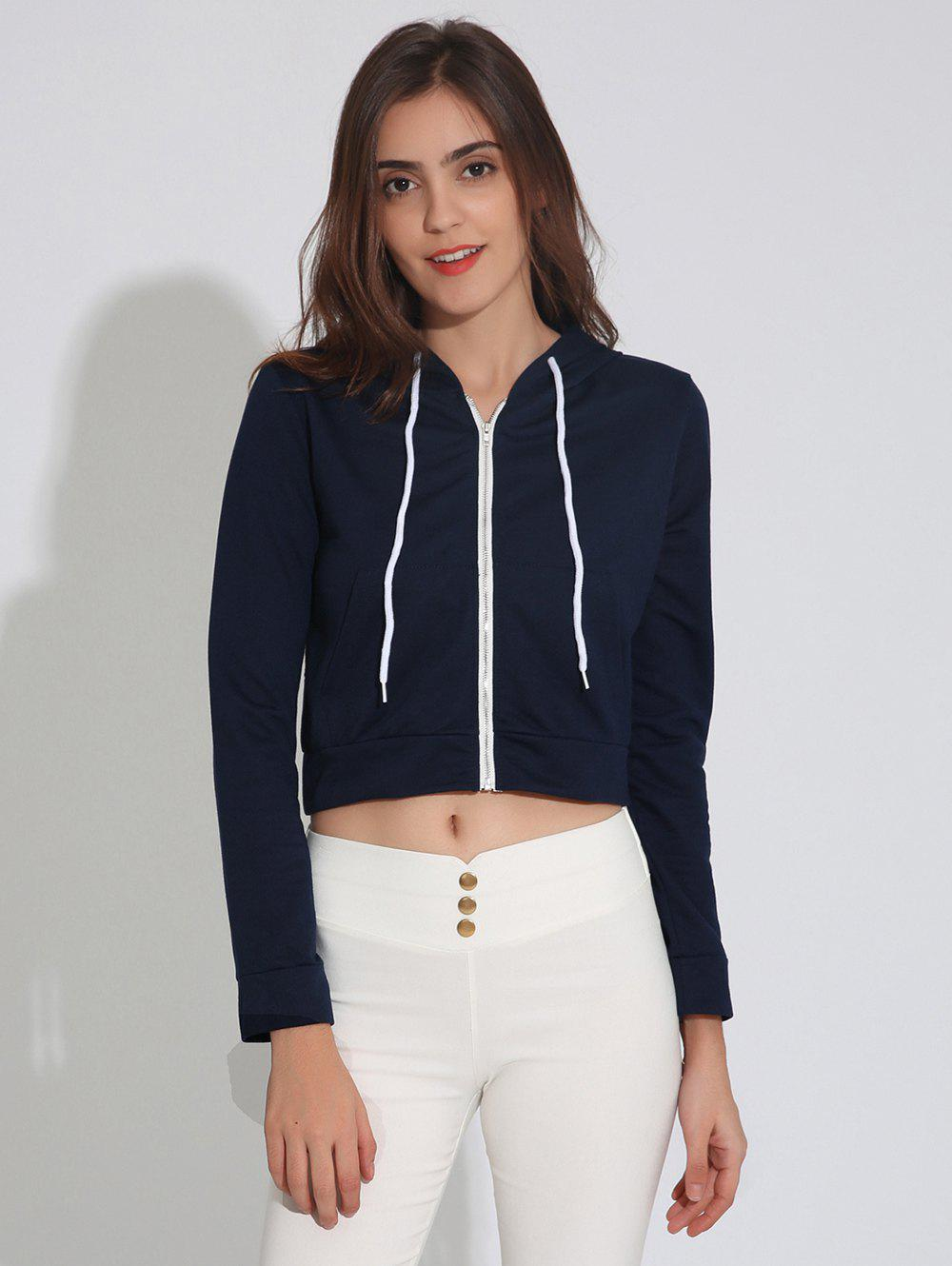 Zip Up Cropped Hoodie with DrawstringWomen<br><br><br>Size: S<br>Color: PURPLISH BLUE
