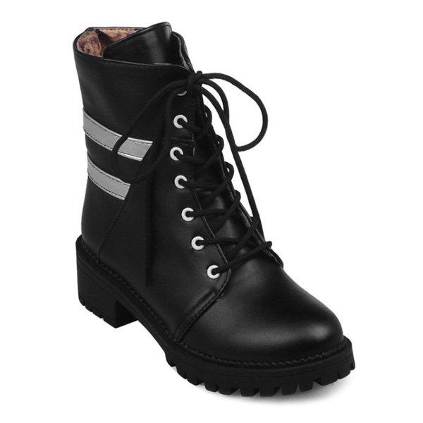 Lace Up Panel Ankle Boots - BLACK 38