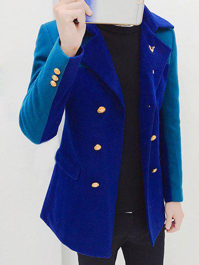 Double Breasted Notched Collar Color Block Coat
