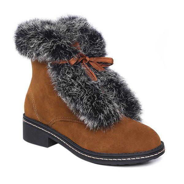 Suede Lace Up Faux Fur Ankle Boots - BROWN 38