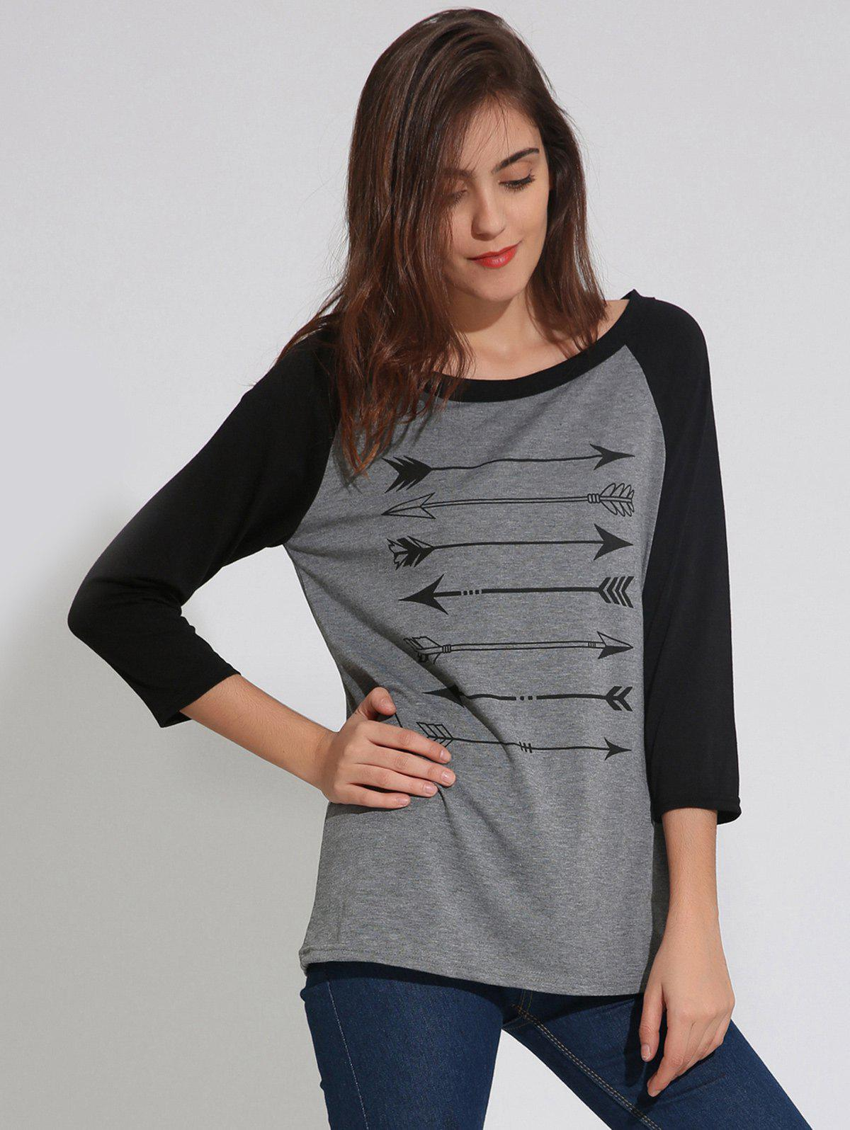 Raglan Sleeve T-Shirt with Arrows Print