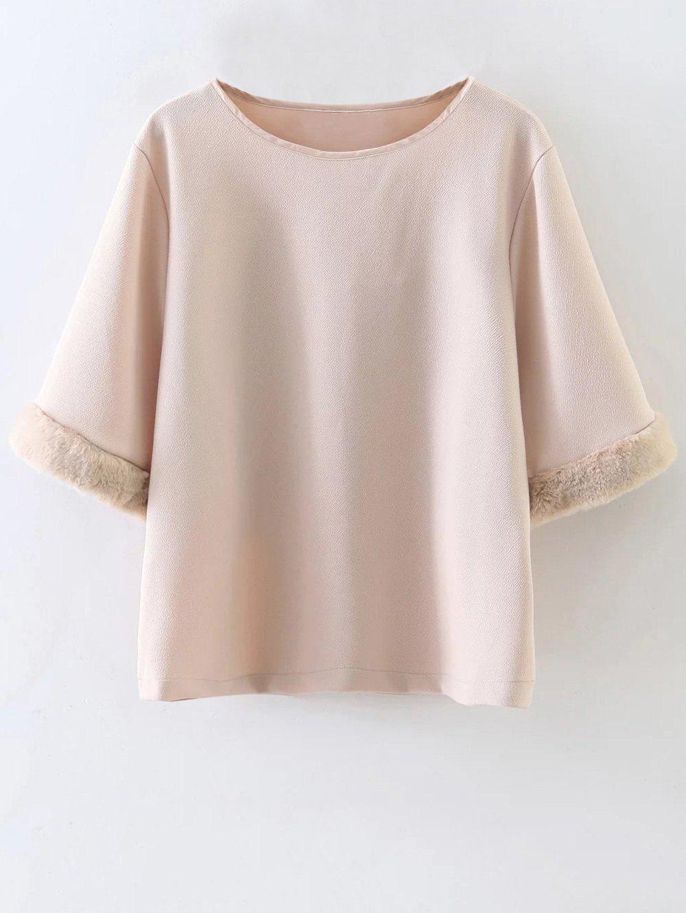 Sweatshirt With Faux Fur Trim - NUDE S