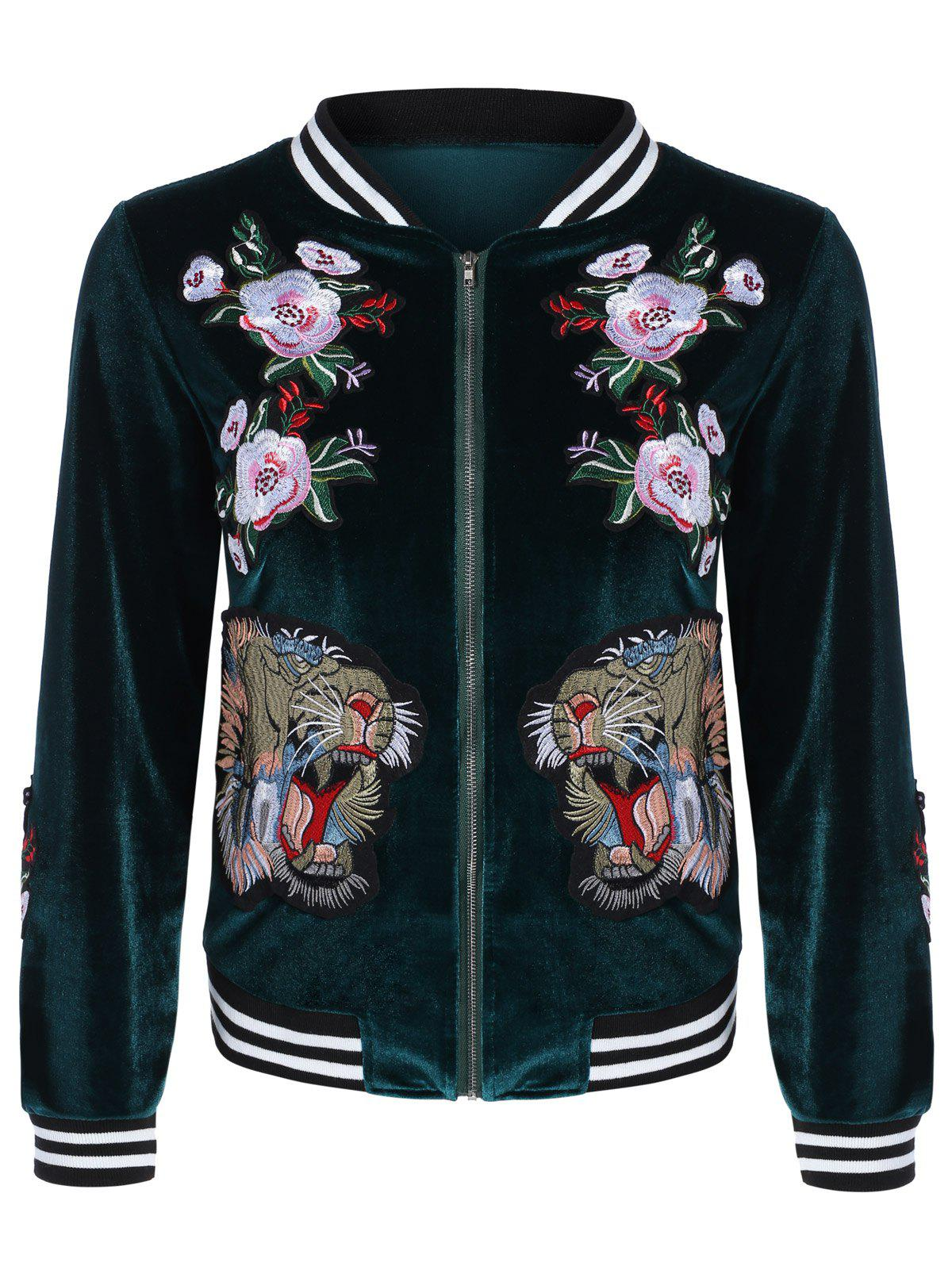 Velvet Rose Tiger Embroidery Bomber Jacket - BLACKISH GREEN XL