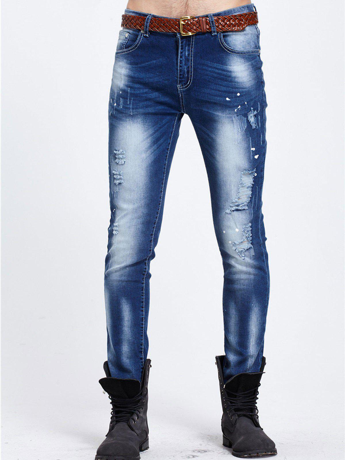 Paint Splatter Zipper Fly Narrow Feet Ripped Jeans - BLUE 30