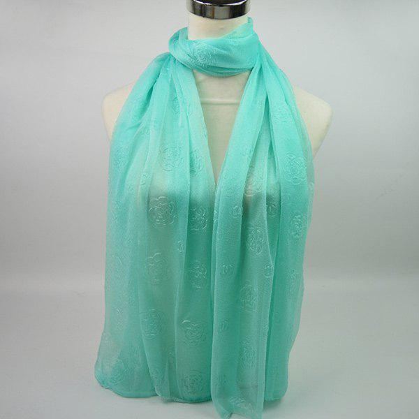 Roses Jacquard Soft Yarn Shawl Wrap Scarf - LIGHT GREEN