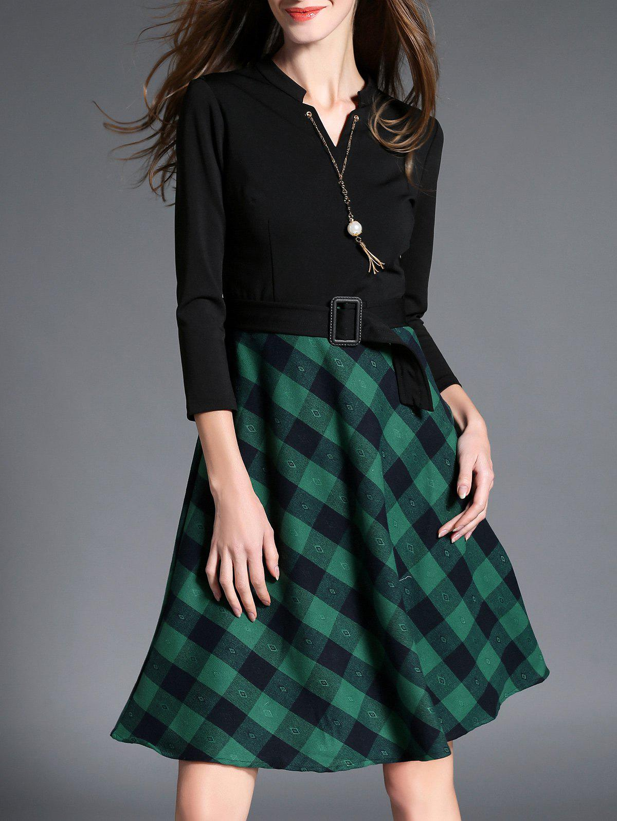 High Waist Plaid Insert Belted Dress - BLACK S
