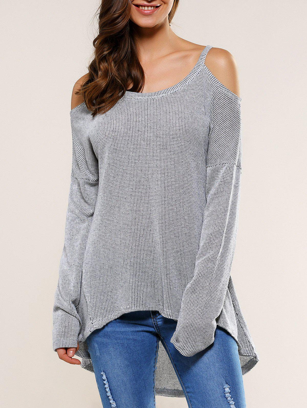Dew Shoulder High Low Hem Blouse - LIGHT GRAY XL