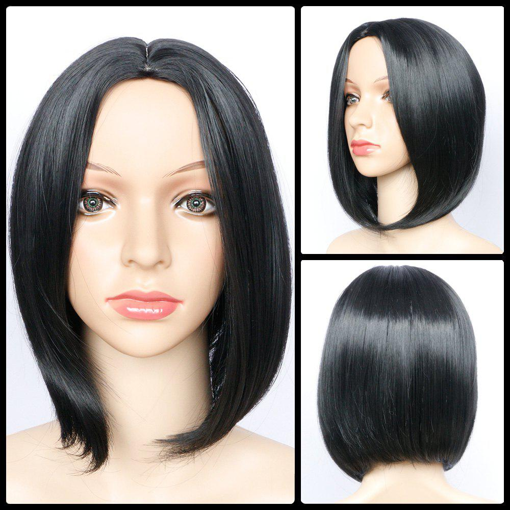Side Parting Short Straight Heat Resistant Fiber Wig - BLACK