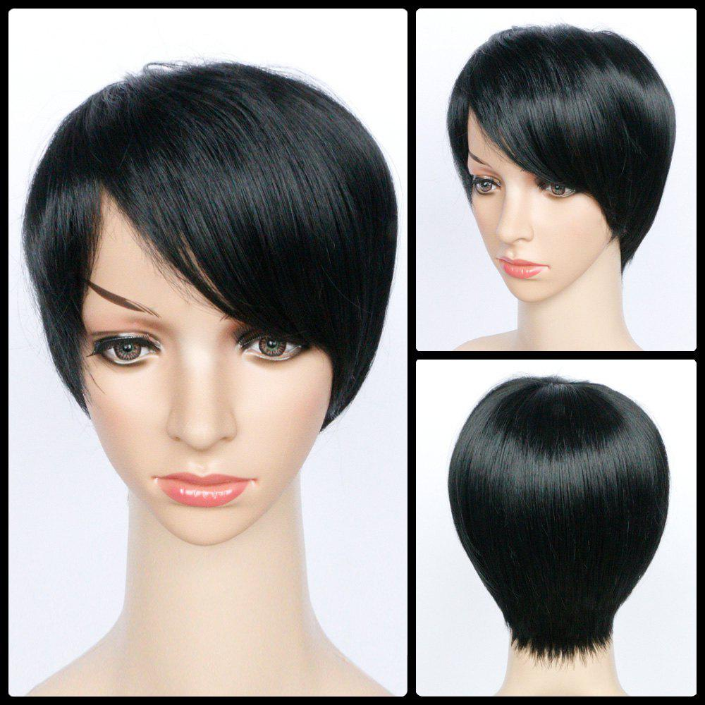 Side Bang Heat Resistant Fiber Short Straight Wig - BLACK