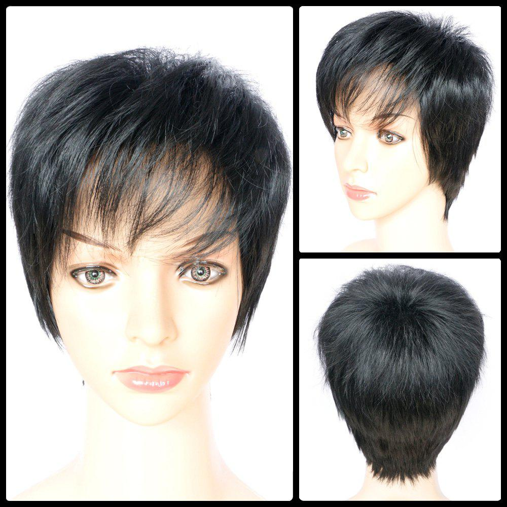 Boy Cut Side Bang Short Fluffy Straight Synthetic Capless Wig - BLACK