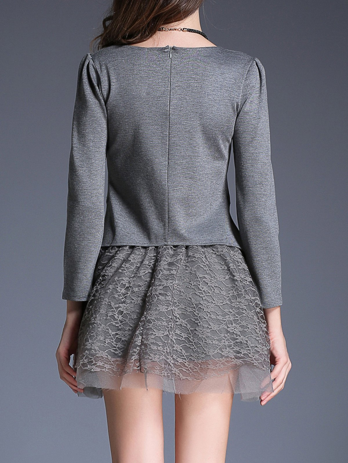 Pendant Embellished Tee and Lace Skirt Twinset - GRAY XL