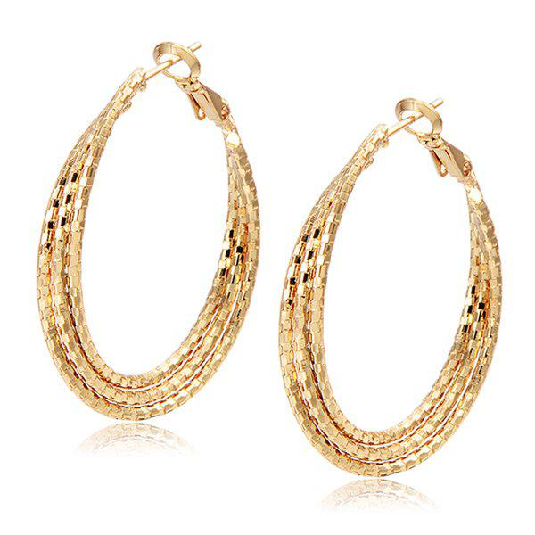 Layered Carved Hoop Earrings - CHAMPAGNE