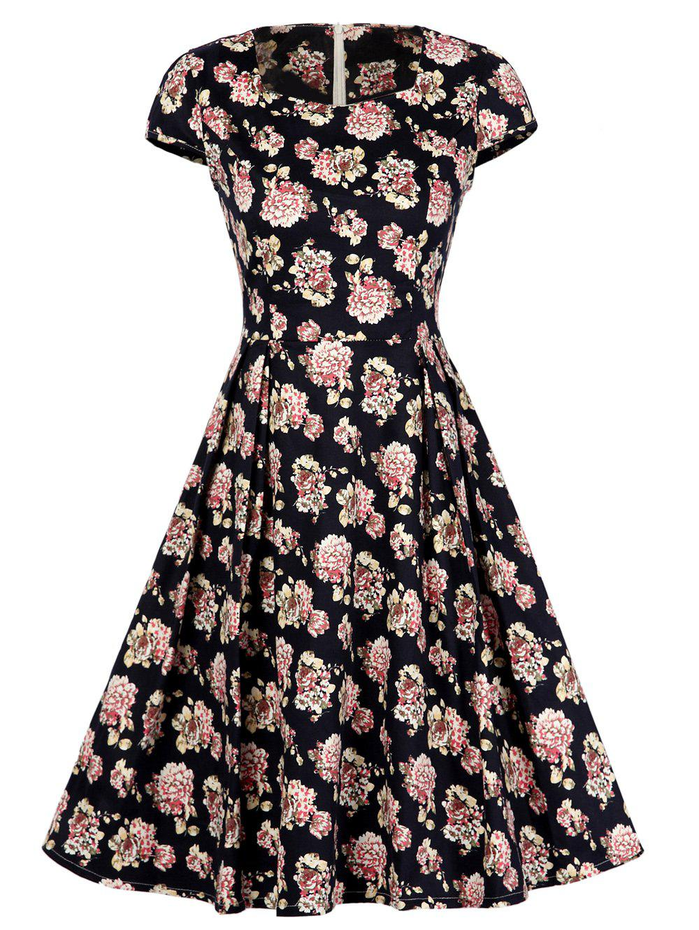 Square Collar Floral Print Vintage Swing Dress - FLORAL M