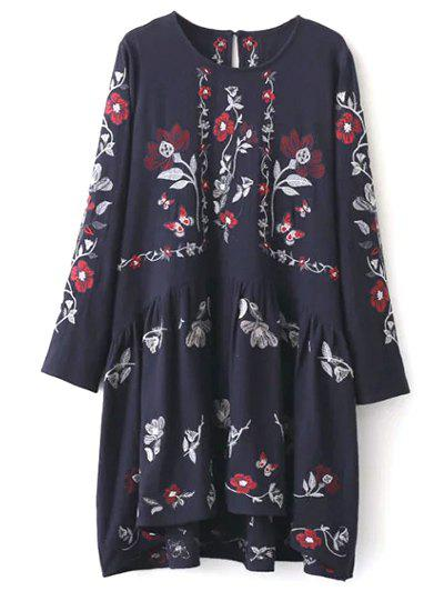 Floral Embroidered Shapeless Dress - CADETBLUE L