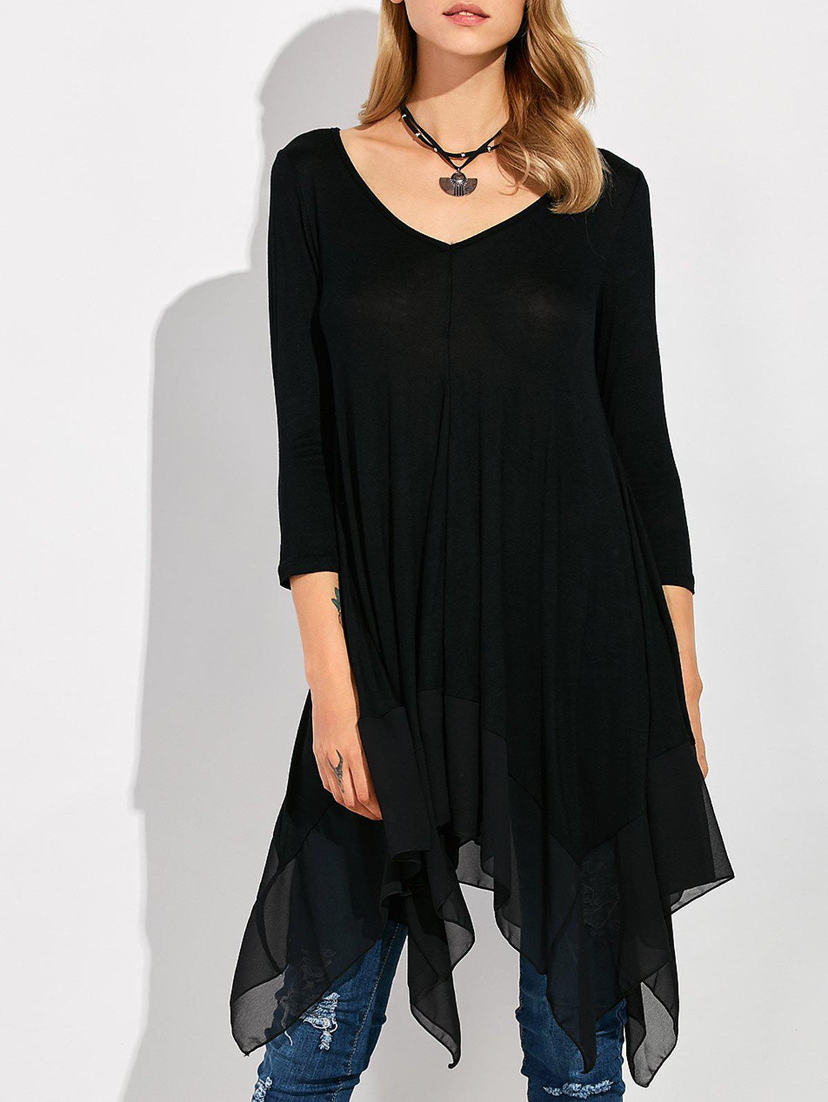 Long Sleeve Asymmetrical Handkerchief Long T-Shirt - BLACK XL