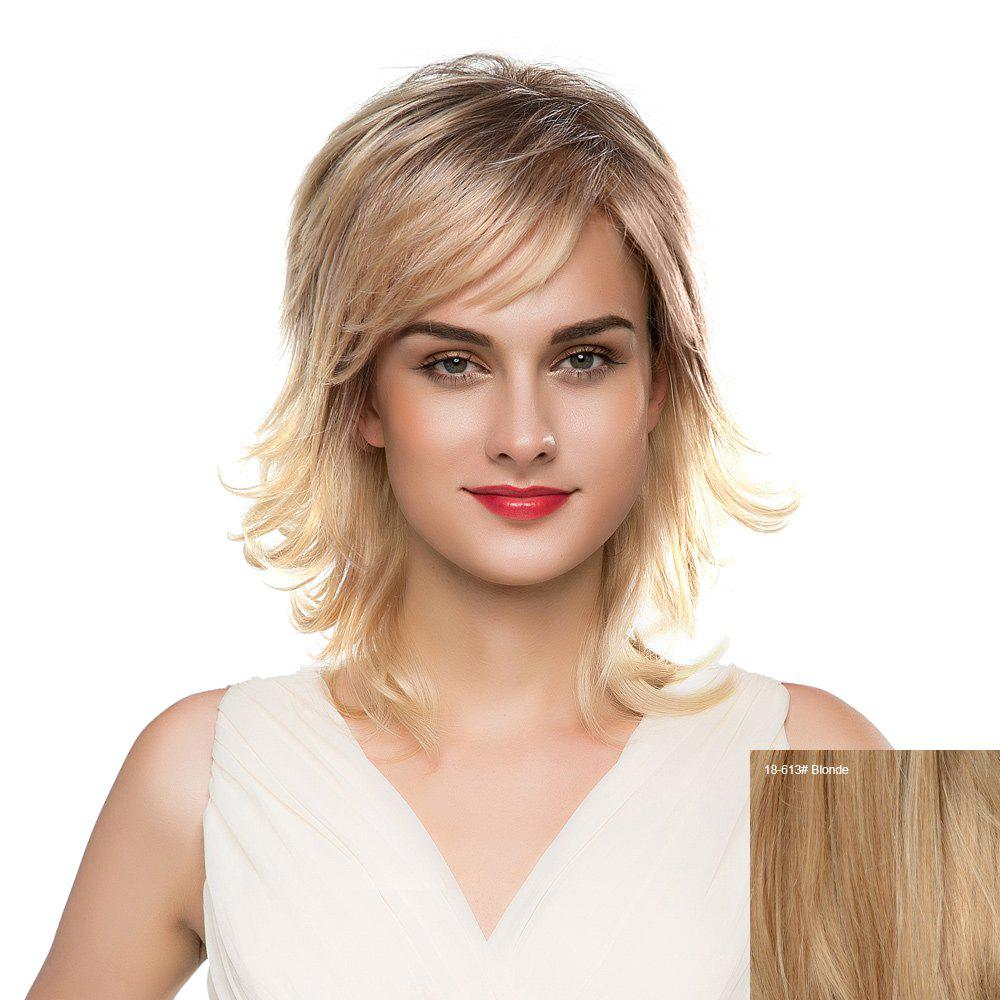 Inclined Bang Meidum Shaggy Layered Tail Upwards Human Hair Wig - BLONDE