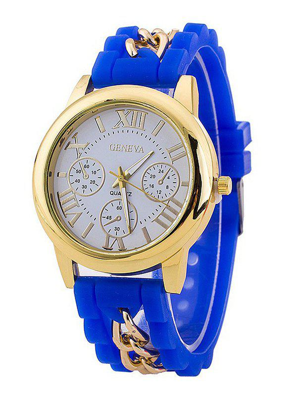 Roman Numerals Silicone Chain Watch - BLUE