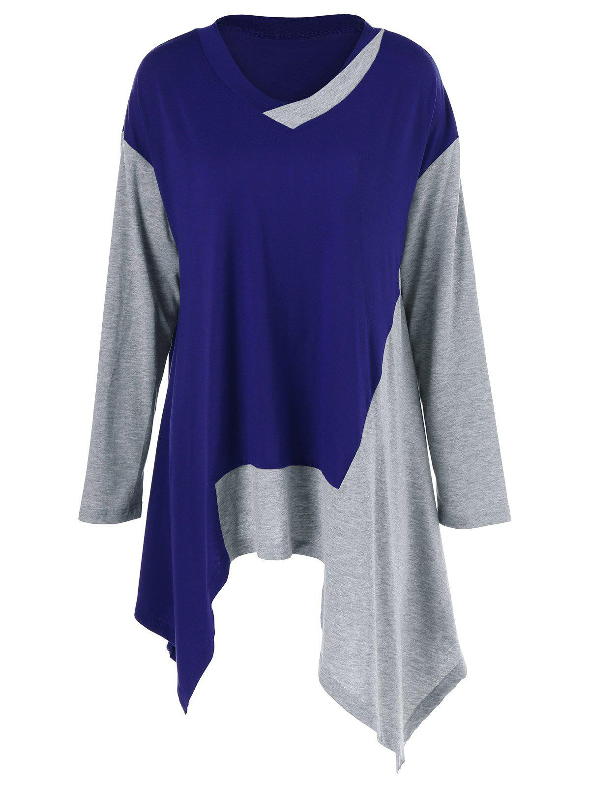 Plus Size Color Block Asymmetrical T-Shirt - GRAY/BLUE 4XL