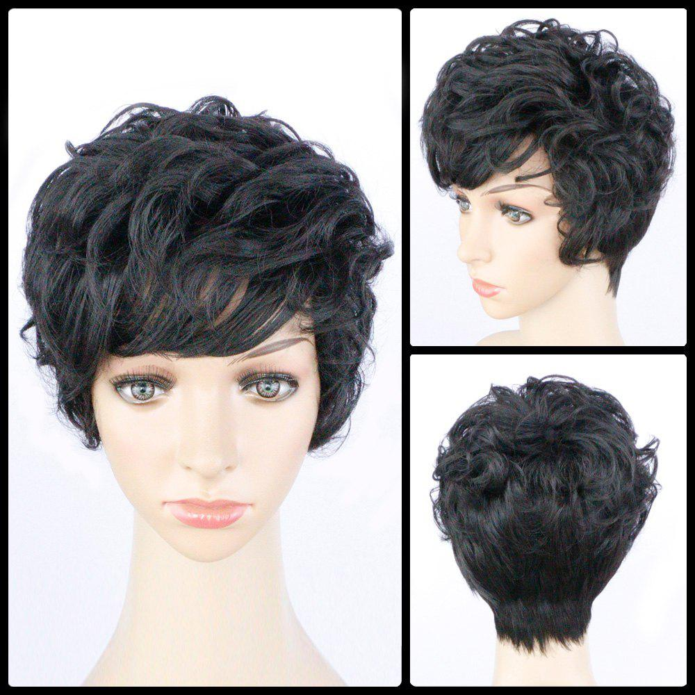 Shaggy Short Side Bang Layered Curly Synthetic WigHair<br><br><br>Color: BLACK