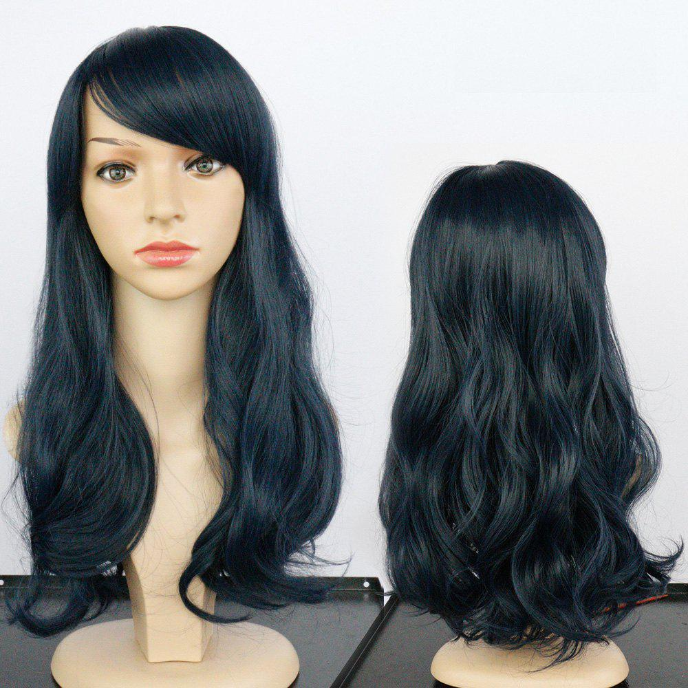 Side Bang Long Fluffy Wavy Synthetic Wig - DEEP BLUE