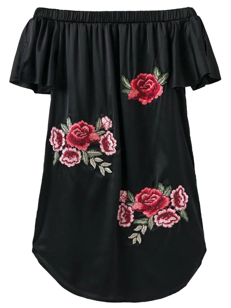 Embroidered Off The Shoulder Satin Dress b michael america women s off the shoulder metallic embroidered dress
