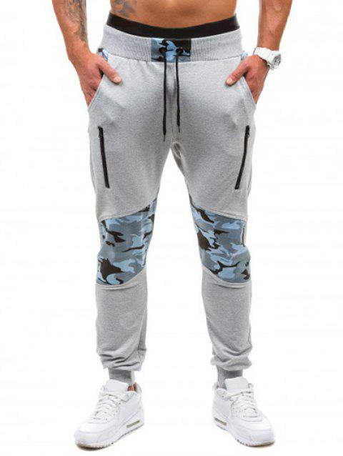 64c234d3ee21a9 85% OFF] 2019 Camo Panel Zippered Drawstring Jogger Pants In LIGHT ...