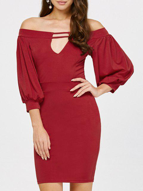 Off The Shoulder Puff Sleeves Bodycon Dress - DEEP RED S