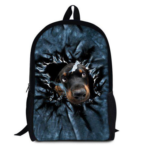 Dog 3D Print Backpack - BLACK