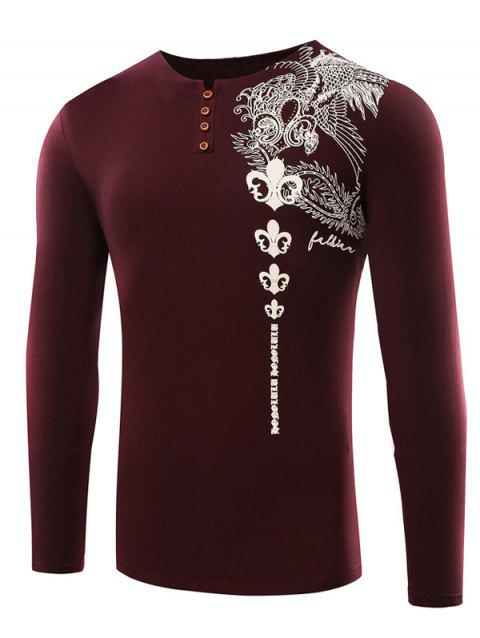 Rhinestone Embellished Buttoned Printed T-Shirt - BURGUNDY 3XL