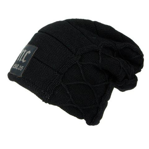 Flocking Letter Patch Knitted Slouchy Beanie - BLACK