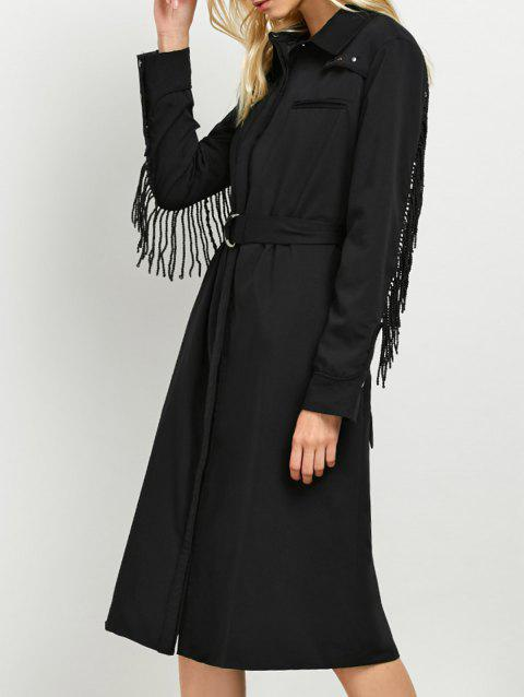 Long Sleeve Studded Fringed A Line Midi Shirt Dress - BLACK M