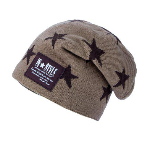 b54abc6b713 2019 Five Pointed Star Pattern Letter Patch Knit Ski Hat In KHAKI ...