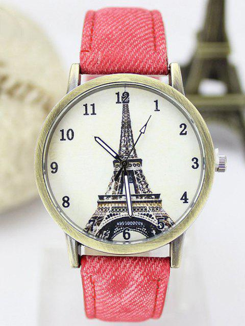 Eiffel Tower Faux Leather Watch - RED